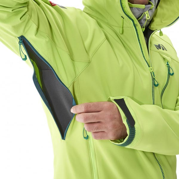 MILLET Mountaineering - green softshell for men On Sale