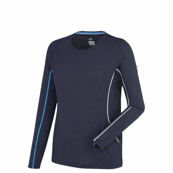 Women MILLET LD TRILOGY WOOL TS LS navy blue Outlet Store